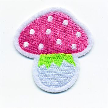 Pink Mushroom Iron On Patch