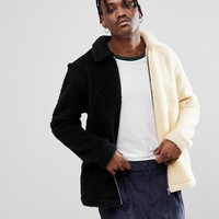 Reclaimed Vintage Inspired Spliced Borg Jacket In Cream And Black at asos.com