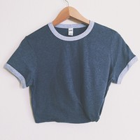 Heather Navy Ringer Tee