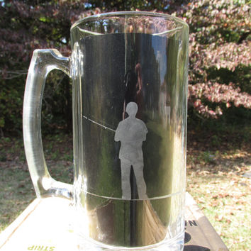 Personalized Etched Glass / Beer Stein Mug / with Fisherman's Silhouette / Hunters / Makes a Great Gift for Outdoorsmen