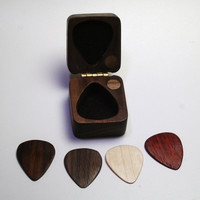 handcrafted guitar pick storage box and wooden pick set fathers day gift perfect for a guitar playing dad  #1