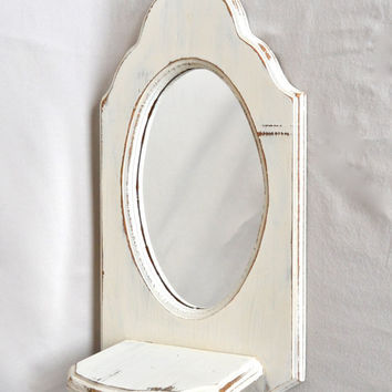Vintage White Distressed Shabby Chic Oval Mirror With Shelf