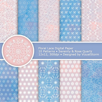 Floral Lace Digital Paper, Rose Quartz and Serenity, printable lace flowers, lace flower scrapbooking and wedding papers, Buy 2 Get 1 Free
