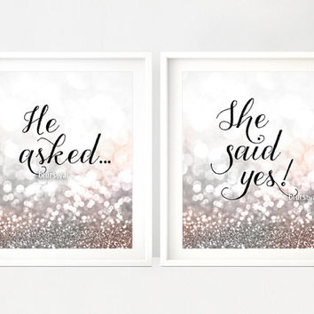 "Printable decor: ""He asked"" ""She said yes!""  silver bridal shower, silver glitter, silver and blush, winter wedding decor  -gp165 Jacqueline"