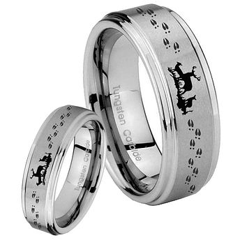 His Hers Deer Hunting Step Edges Brushed Tungsten Men's Wedding Band Set