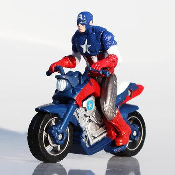 Captain America In Motorcycle PVC Action Figure Model Toy Boys Toys Dolls Christmas Gift 10CM