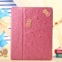 Roseo - Sweet Hello Kitty Cute Pu Leather Case for Apple Ipad 2/3/4 Cute Hello Kitty Flip Case Smart Cover Stand Angle View for Apple Ipad 2/3/4