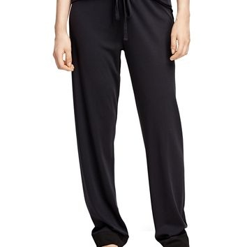 Women's Black Cotton Pajama Set with Satin Trim | Brooks Brothers
