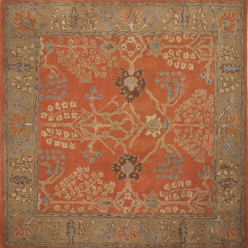 Jaipur Rugs Classic Arts And Crafts Pattern Orange/Brown Wool Area Rug PM51 (Square)