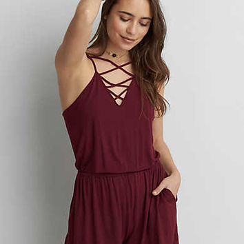 AEO Cross-Front Strappy Romper, Burgundy