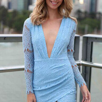 Plunging Neckline Baby Blue Lace Mini Dress in Full Sleeve
