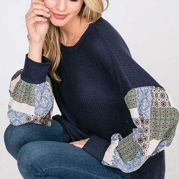 Boho Style Bishop Sleeve Top - Navy