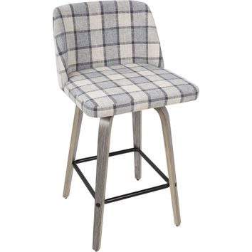 Toriano Mid-Century Modern Counter Stool with Grey Plaid, Light Grey