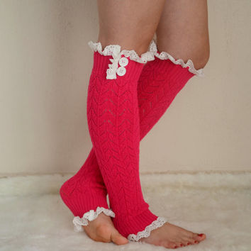 Hot pink knit lace leg warmers boot socks boot cuffs birthday gifts women's accessory christmas gifts high knee sock chunky leg warmers