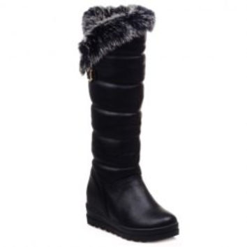 Fashionable Fur and Platform Design Women's Boots