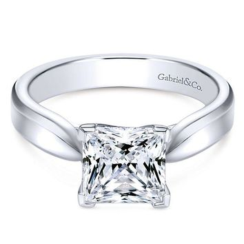 14k White Gold Cathedral Princess Cut Solitaire Diamond Engagement Ring Mounting