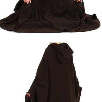 UNISEX Autumn&winter polar fleece warm meditation cloak martial arts monk suits mantle nun Lay cape robe zen brown