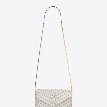Saint Laurent MONOGRAM SAINT LAURENT Envelope CHAIN WALLET IN Pale Gold Grained MATELASSÉ Metallic LEATHER | ysl.com