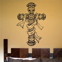Cross Version 102 Vinyl Wall Decal Sticker Art Graphic Christian Church Jesus