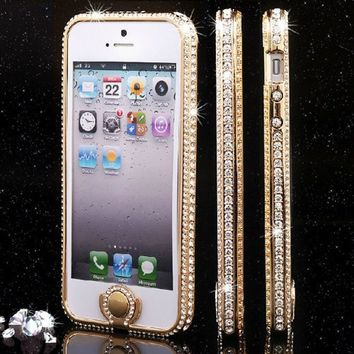 Change Luxury Crystal Rhinestone Diamond Bling Metal Case Cover Bumper for Iphone 5 5s (Gold)