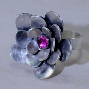 Sterling silver three layered flower cocktail ring with pink ruby