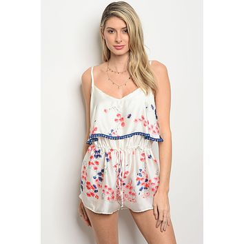 Womens Ivory Coral Floral Romper