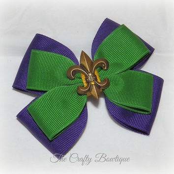 Fleur de Lis ~ Mardi Gras Hair Bow ~ Layered Boutique Hair Bow ~ Purple, Green and Gold ~ Big Hair Bow ~ Bow for Headbands ~ Pony Tail Bow