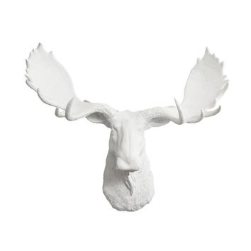 The Alberta | Moose Head | Faux Taxidermy | White Resin