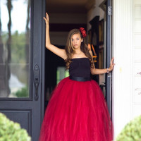 red dress, red tutu, long tutu skirt, sewn tutus, Wide Satin sash, Wedding tutu, Prom dress, flower girl dress, adult tutu