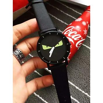 FENDI Newest Stylish Women Men Quartz Movement Watch Wristwatch Black I/A