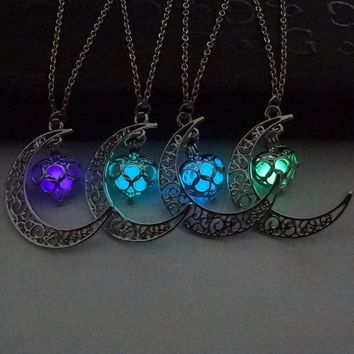 Glow Heart Moon Necklace