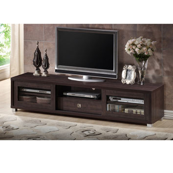 Baxton Studio Tooms Contemporary 70-Inch Dark Brown TV Cabinet with 2 Sliding Doors and 1 Drawer | Overstock.com Shopping - The Best Deals on Entertainment Centers