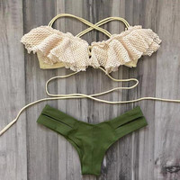 Beach Holiday Swimwear T-back Swimsuit Lace Bikini Set+Free Gift -Random Necklace-82