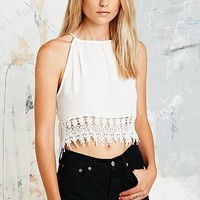 Staring at Stars Crochet Trim Cami in Ivory - Urban Outfitters