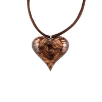 Wooden Heart Necklace, Heart Pendant Necklace, Wood Heart Necklace, 5th Anniversary Gift, Wood Necklace, Wood Jewelry, Heart Jewelry