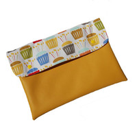 Vegan leather clutch with birthdays cupcake, ipad case, macbook cover