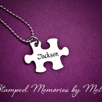 Kids Name - Hand Stamped Puzzle Piece Necklace - Hand Stamped Mommy Jewelry - Stainless Steel -  Personalized Mother's Day Gift