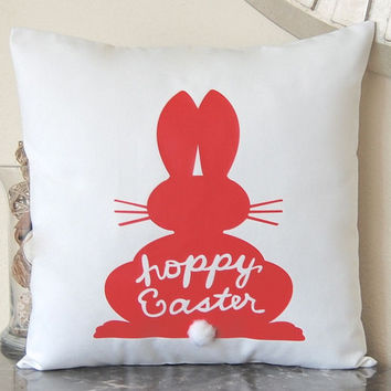 Easter Pillow, Easter Decor, Pillow Cover, Throw Pillow Cover, Bunny Pillow, Easter Bunny, Coral Pillow, Spring Decor, Easter Gift