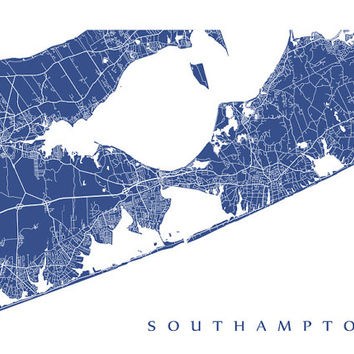 Southampton Map Art Poster Print - New York