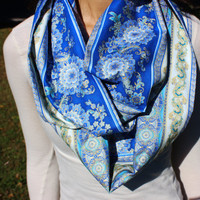 Admiral Blue Mist Paisley Infinity Scarf, Women's Floral Fashion Loop Scarf-Bohemian Gold Accent Lining
