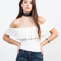 Flutter Off-the-Shoulder Bodysuit