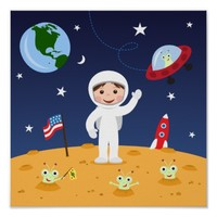 Friends in space, cute kids cartoon wall art poster