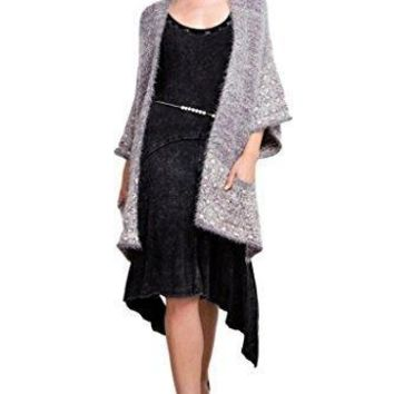 Easel Women's Two-Toned Fuzzy Acrylic Mohair Open Cardigan Sweater with 3/4 Length Sleeves