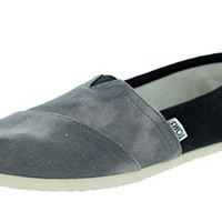 TOMS Womens Slip-On Black Canvas Washed Casual Shoes Size 8