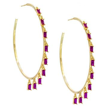 """Pave Mini Baugette Dainty Pink Topaz 1.4"""" Hoop Earring Embellished with Swarovski Crystals in 18K Gold Plated"""