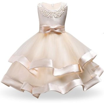 Girls School Opening Ceremony Dresses For Girl Pearls Tulle Lace Infant Toddler Pageant Flower Dress Wedding Birthday Clothes