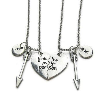 2 Best Friends Necklaces, You're My Person Necklaces, Arrow Necklaces, You're My Person Best Friends Necklaces, BFF Necklaces, Personalized
