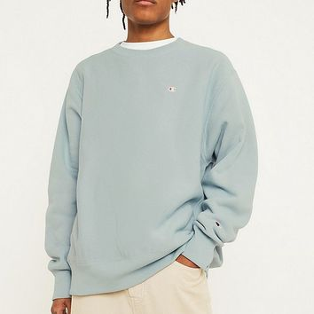 Champion x UO Dusty Blue Reverse Weave Crew Neck Sweatshirt | Urban Outfitters