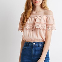 Crochet-Trimmed Off-The-Shoulder Top