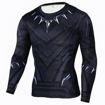 DCCKFS2 Men Compression Shirt Marvel Comics Superhero Black Panther Winter Soldier Ant-Man Muscle Fit Tee Shirts Fitness Clothing Men